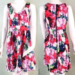 Milly Abstract Floral Fit & Flare Dress Size 8